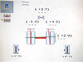 リヤ軸の測定データです。 リヤアクスルの向き、曲がり 車輪の向き、角度がわかります。